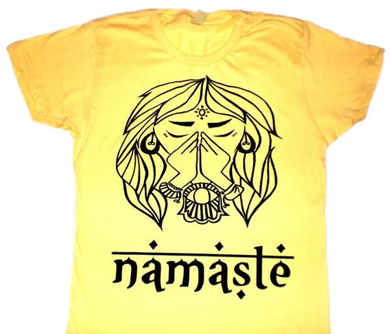 NAMASTE tshirt - Sun Yellow t shirt  Yoga graphic tee summer - alternative apparel -  Yoga - Men - Women - Small Medium Large XL
