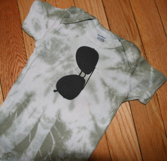 CLEARANCE SALE 50% OFF plus reduced shipping Tye Dyed Top Gun Aviator Sunglasses Onesie in 6-9 months One of a Kind on