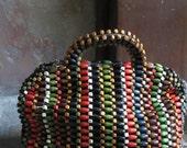 1940s wooden bead handbag - bright and beautiful colors