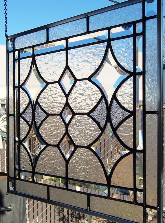 Large Beveled Stars and Diamonds Stained Glass Window