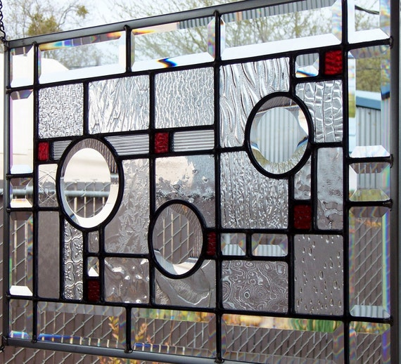 Contemporary Art Glass with Deep Red Accents Stained Glass Window