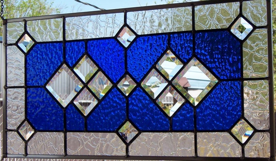 Royal Blue and Bevels Stained Glass Window