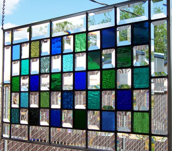 Blues, Greens and Bevels Large Stained Glass Window