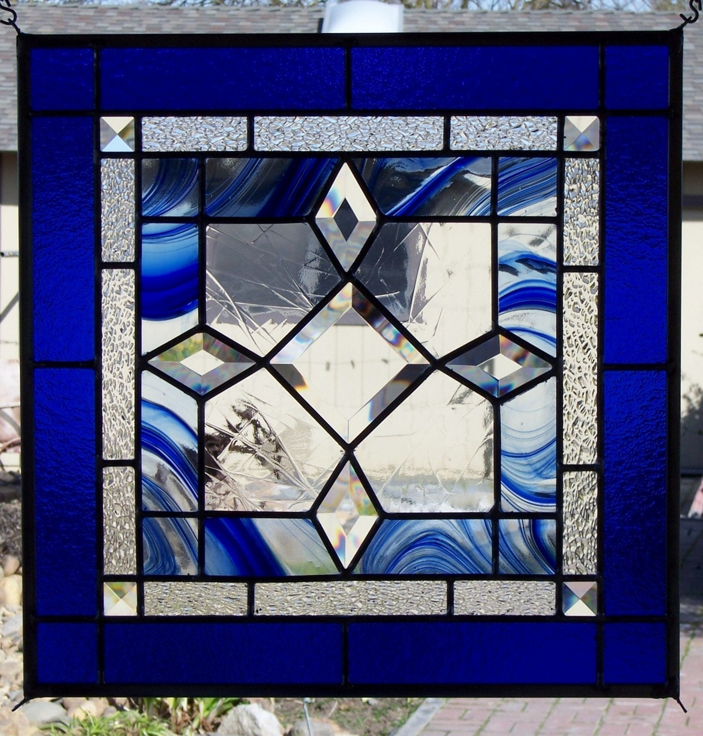 Leaded Stained Glass : Beveled blue stained glass window
