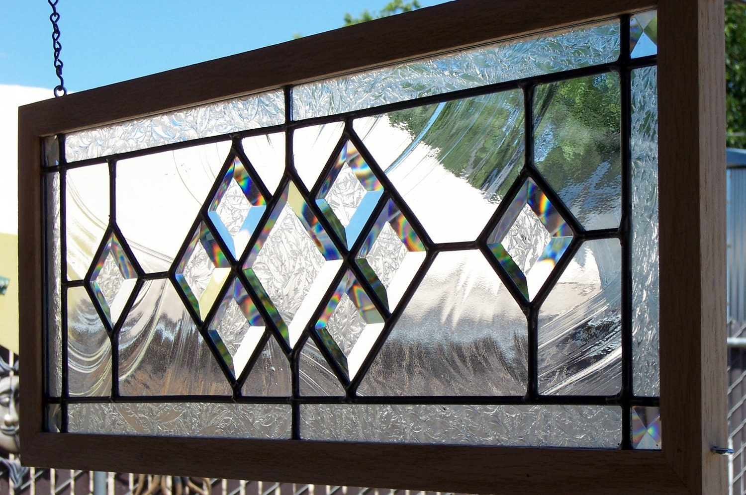 Elegant Oak Framed Beveled Stained Glass Window