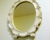 Vintage Cream Wood Framed Fairytale Vanity Mirror