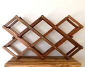Vintage Rustic Brown Wooden Accordion Folding Wine Rack