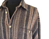 Vintage Mens Hippie Fashion Woven Button Up Shirt Extra Large