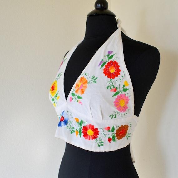 Flower Embroidered Halter Bra Top Vintage Hippie 1960s Womens Tank Small Medium