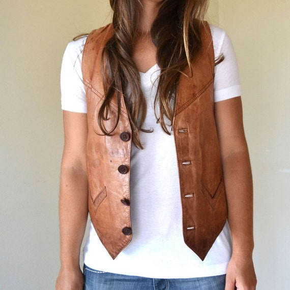 Vintage Brown Rustic Cowboy Genuine Leather Button Up Vest Small