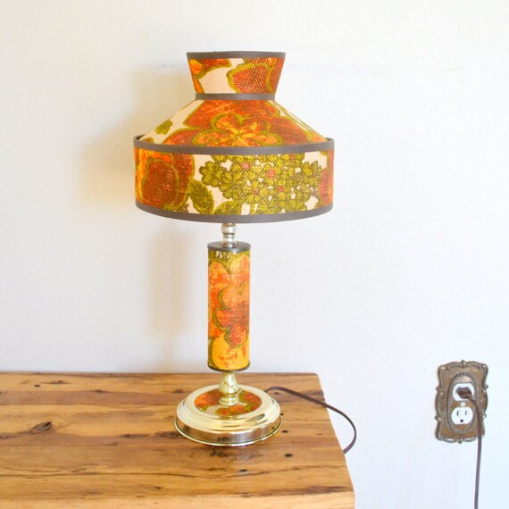Vintage Table Lamps With Flowers : Retro s floral print table lamp by storytellersvintage