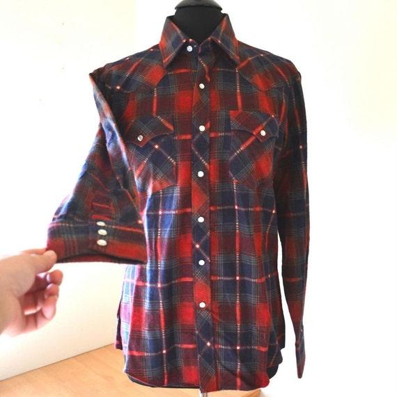 Vintage Pearl Button Western Wear Plaid Shirt Mens Medium
