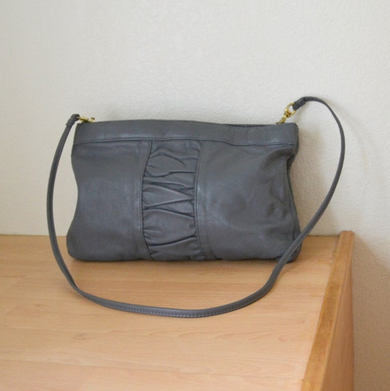 Vintage 80s Gray Handbag Faux Leather Removable Strap Purse by Brenalini