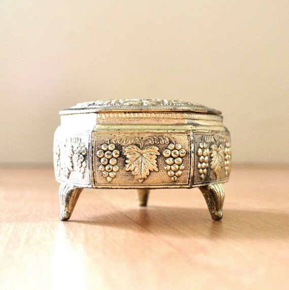 Vintage Small Silver Colored Ring Box Ornate Grape Clusters