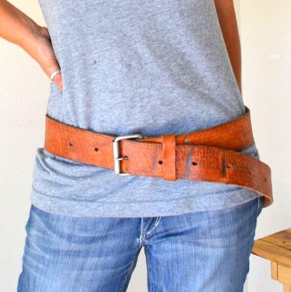 Extra Large Vintage Honey Brown Tooled Leather Belt