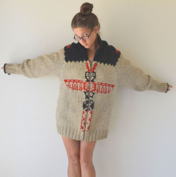 Oversized Vintage Aztec Thick Wool Knit Sweater Zip Up Large
