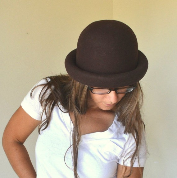 Early 90s Chocolate Brown Wool Felt Rolled Brim Bucket Hat