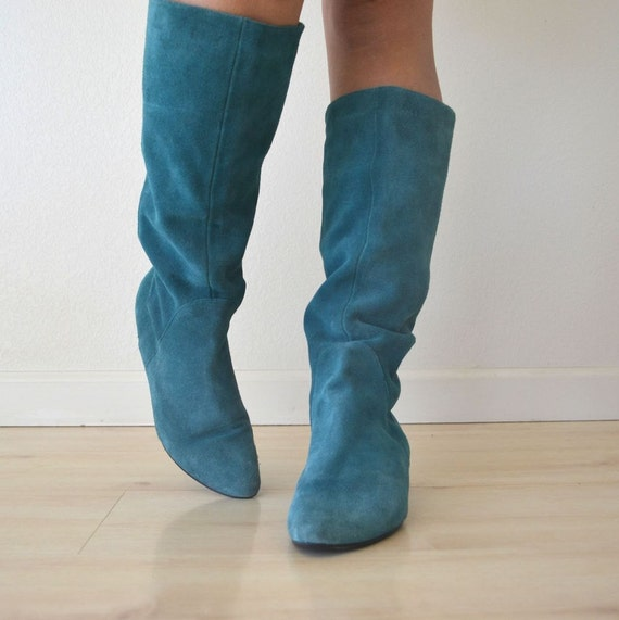 Knee High Slouchy Turquoise Suede Leather Boots Womens Size 9