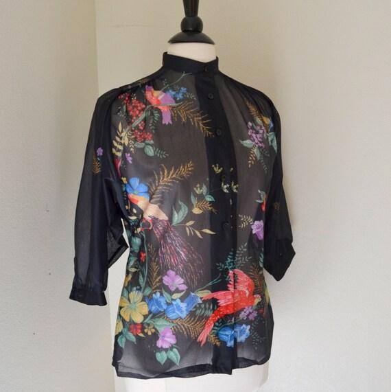 1970s Bird Floral Print Sheer Black Blouse Mandarin Collar Small