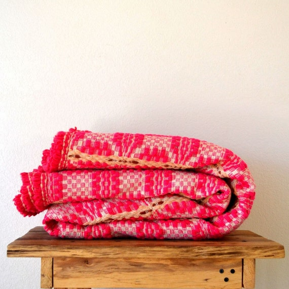 Psychedelic 60s Vintage Pink and Cream Woven Blanket