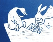 rabbit and duck reading - original linocut art print - nursery gift - handcarved and handprinted