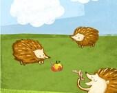 Hedgehogs pencil-sketch digitally coloured - Print