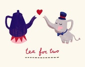 Teapot and elephant - sketch digitally coloured - Art Print - kitchen art