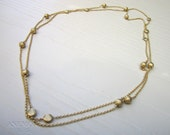 asymmetrical gold chain necklace with gold beads, gold necklace, double layered, statement necklace
