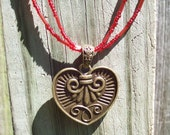 Reversible Heart On Handmade Red Glass Bead Necklace