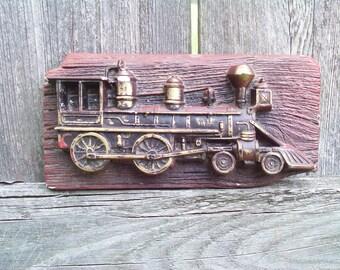 Vintage 1975 Miller Studio 'Locomotive' Chalkware Plaque