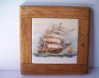 Vintage Ship Tile/Trivet With Wooden Frame