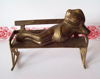 Solid Brass Frog Relaxing on Bench, Rubbing Belly