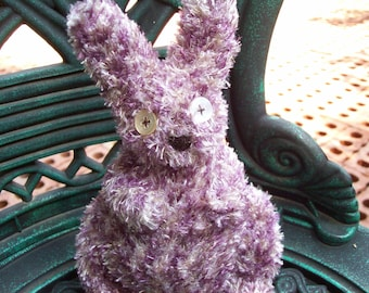 Nibbles, The Fluffy Handmade Purple Sock Bunny...who is a tad bit off