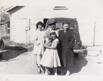 """Vintage B&W Photo of Family in front of their house and car, while puppy """"waves"""""""