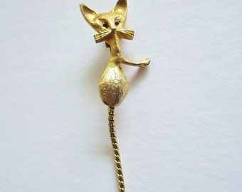 Gold-Tone Cat Pin With Red Rhinestone Eyes And Dangling Chain Tail--Very Retro & Mod