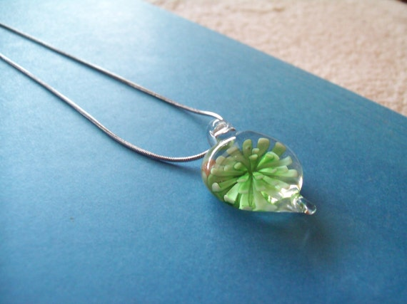 Green Fused Glass Heart in Bloom Necklace