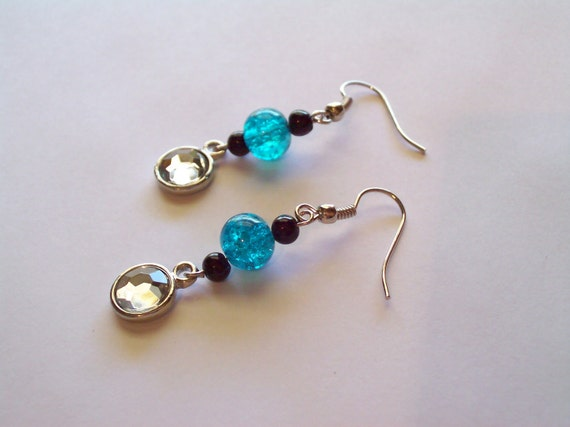 Turquoise & Black Handmade Dangle Earrings