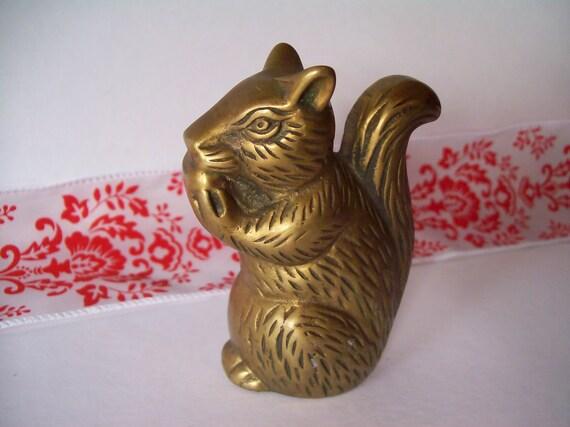 Vintage Brass Squirrel with Nut Figurine