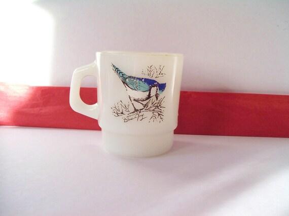 Vintage Fire King Mug of Blue Jay & Cardinal