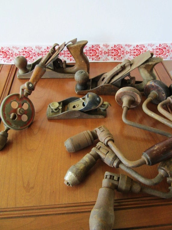 Collection Of 7 Antique Hand Tools, Planes, Hand Drills