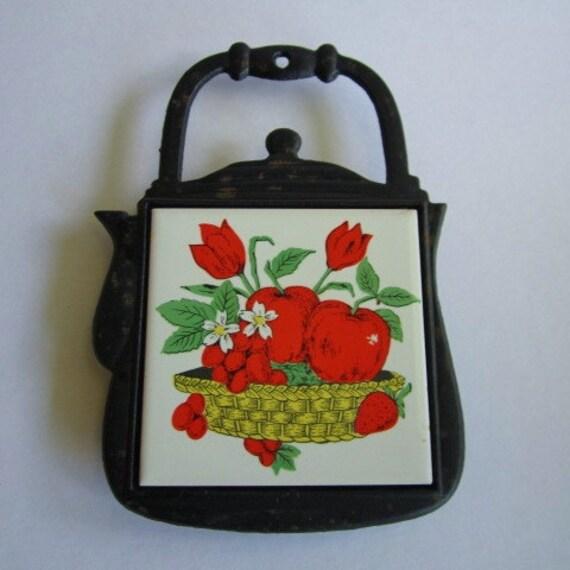 Vintage Ceramic Tile Cast Iron Teapot Trivet of Fruit & Flowers in Basket.