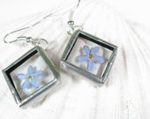 Earrings With Beautiful Dried Flowers - Stained Glass - Tiffany - Blue, Purple, Violet - FREE SHIPPING WORLDWIDE