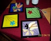 Set of 4 Fused Glass Appitizer- Dessert -Salad -Muffin Plates Retro 60's Funky Design 6.5 Inches Square