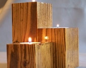 Tea Light Candle Holder, Reclaimed Wood, Set of Three Candle Holders