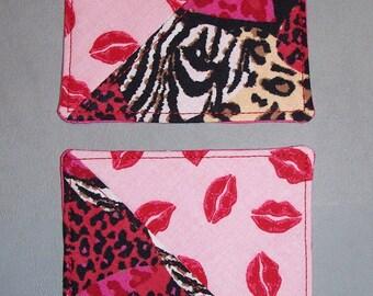 Valentine Decor Fabric Coasters, Hot Lips and Animal Print, Valentine