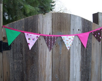 Cupcake Themed Fabric Pennant Banner, Party Banner, Bake Sale Banner