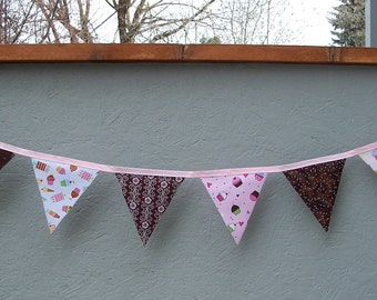 Fabric Pennant Banner, Bunting, Cupcake Themed Pink and Brown