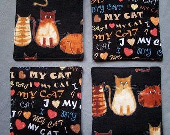 Fabric Coasters, Set of Four Cute Cats Coasters, I Love My Cat Fabric Coasters