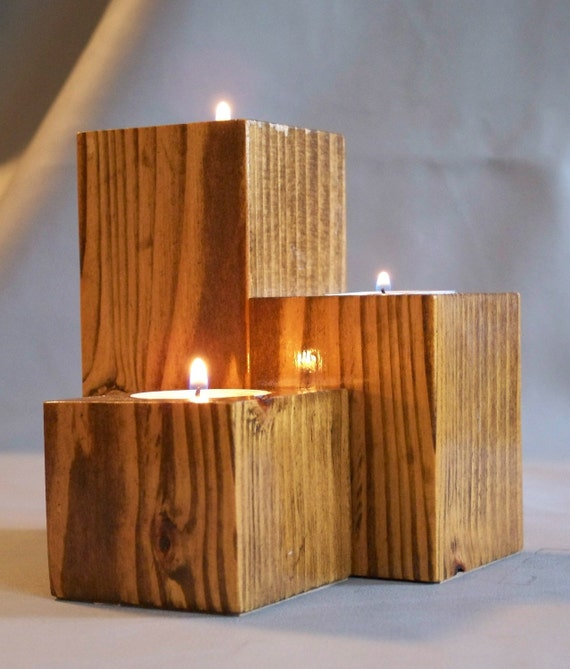 Tea Light Candle Holder, Reclaimed Wood, Set of Three Candle Holders