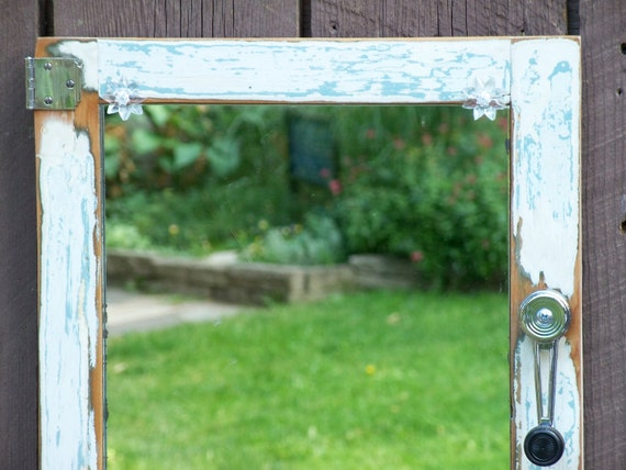 Shabby Chic Mirror, Blue and White with Silver Hardware